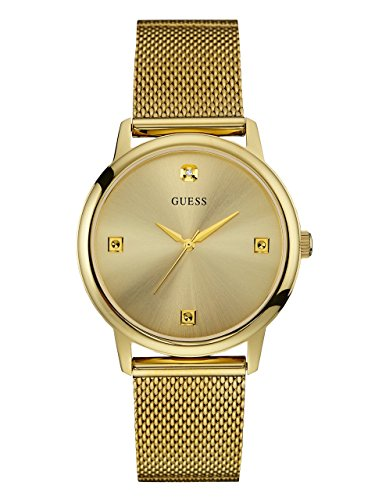 GUESS Men's Stainless Steel Diamond Dial Mesh Bracelet Watch