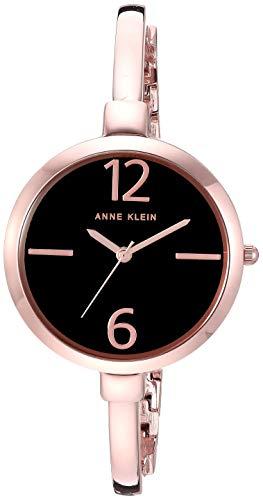 Anne Klein Women's Rose Gold-Tone Bangle Watch and Bracelet Set Anne Klein Women's AK/3290BKST Rose Gold-Tone Bangle Watch and Bracelet Set