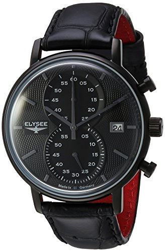ELYSEE Men's 'Classic-Edition' Quartz Metal and Leather Casual Watch