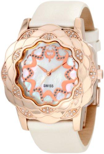 Brillier Women's La Fleur Round Rose Gold Diamonds Analog Watch