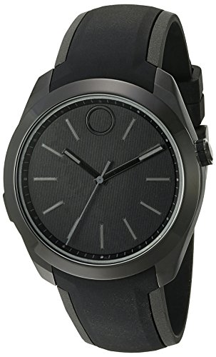 Movado Stainless Steel Swiss-Quartz Watch with Silicone Strap, Black