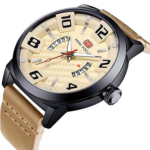 MINI FOCUS Men's Wrist Watch Waterproof Calendar Leather Band Business Watches
