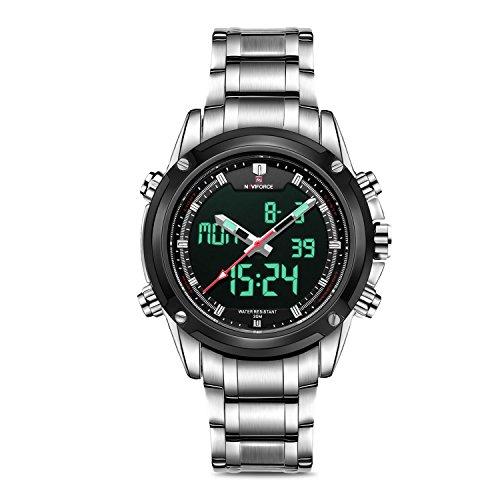 Business Mens Analog Digital Watch, Quartz Dual Time Zone Electronic Business Mens Analog Digital Watch, Quartz Dual Time Zone Electronic Watches Waterproof Heavy Wristwatch with Alarm Stopwatch