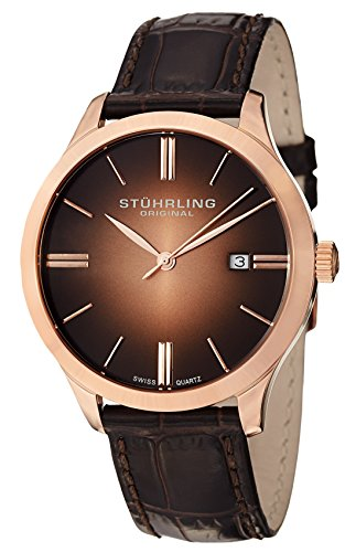 Stuhrling Original Men's Cuvette II Analog Swiss Quartz Brown Leather Watch