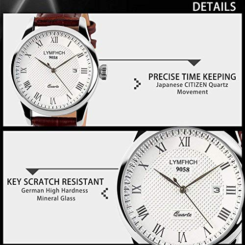 Mens Quartz Watch, Roman Numeral Business Casual Fashion Analog Wrist watch  CLASSIC CASUAL DESIGN: simple dress watch easygoing plan, cowhide band, roman number time mark with the straightforwardness of business easygoing, take you back to the work of art. Additionally make it an extraordinary present for family or friends.    DURABLE with COMFORT: hardened steel water evidence case spread, delicate calfskin watch band give open to wearing experience. PRECISE TIME KEEPING: CITZEN Japanese Quartz Movement, give exact and precise time keeping WATERPROOF FOR DAILY USE: 98 FT waterproof (30 M), HANDWASH, SWIMMING, NO PROBLEM ! Ideal for all sort of business, easygoing, indoor exercises or every day use. NOTE: Please DO NOT press any catches in the water or wear this watch for long-lasting submerged exercises -, for example, plunging, ect. WHAT IS IN THE PACKAGE: Aposon Business Causal Leather Band Watch x 1   Highlights: • Imported Quartz Movement: give exact and precise time keeping • Roman Number Time Mark • Classic Business Casual Design. Joins quality, driving edge style, and esteem. • Stainless Steel Dial Case Back Cover • Calendar Date Window • 98FT/30M Normal Water Resistant: Handwash, swimming, day by day utilize waterproof, not reasonable for submerged exercises -, for example, jumping. An excessive amount of water contact WILL DAMAGE THE LEATHER BAND STRAP. Highlights • Roman Number Time Mark • Calendar Date Material: • Case Material: Stainless Steel • Band Material: Leather • Mirror Surface: Mineral Glass Specification: • Dial Color: White • Dial Case Diameter: 1.6 inch/4 cm • Dial Case Thickness: 0.6 inch/1.6 cm • Band Color: Brown • Band width: 0.8 inch/2 cm • Total Length: 9.45 inch/24 cm • Max Perimeter 8.66 inch/22 cm (Buckle to Hole) • Band Clasp Type: Buckle • Watch Weight: 3.5 oz/98 g **NOTE**: • Please DONOT wear this watch when jumping. Likewise stay away from the utilization in outrageous hot or cold temperature. • If fog or beads found inside wat