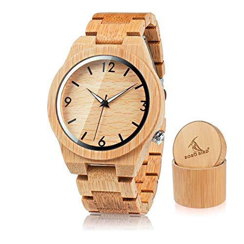BOBO BIRD Men's Bamboo Wooden Watch Numeral Scale Large Face Watch