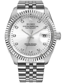 BUREI Men's Luxury Silver Automatic Watch