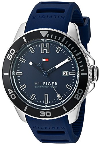 Tommy Hilfiger Men's Quartz Stainless Steel and Silicone Watch, Color:Blue