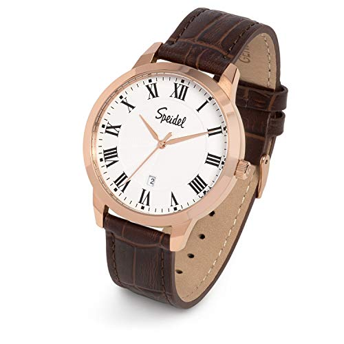 Speidel Classic Stainless Steel Rose Gold Tone Roman Numeral Watch