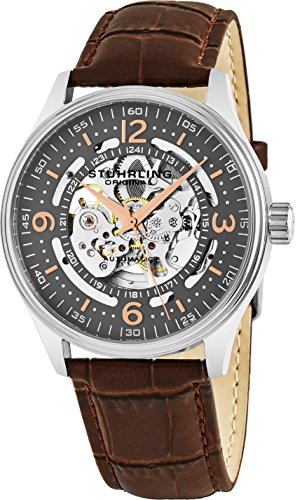 Stuhrling Original Delphi Automatic Watch - Grey Skeleton Dial Wrist Watch for Men