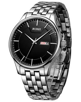 BUREI Men Simple Quartz Watch Black Analog Dial