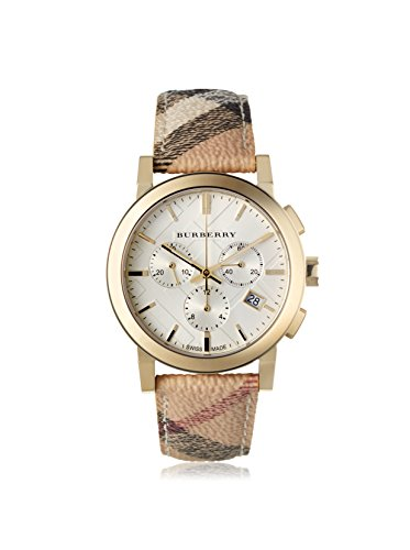 Burberry Women's The City White Plaid Leather Watch