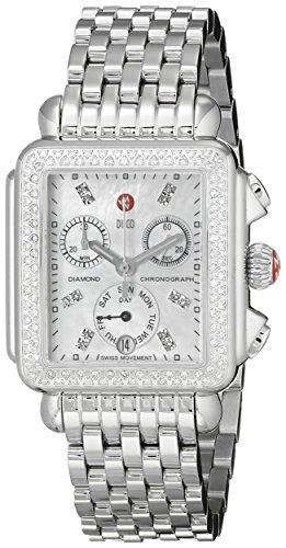 MICHELE Women's Deco Analog Display Swiss Quartz Silver Watch