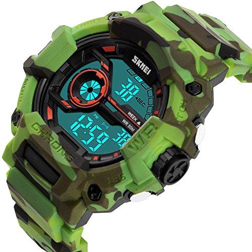 Boys Camouflage Digital Sports Watch, Aposon LED Screen Military Wrist Watch