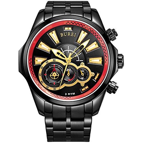 BUREI Men's Luminous Hands Chronograph Analog Watch