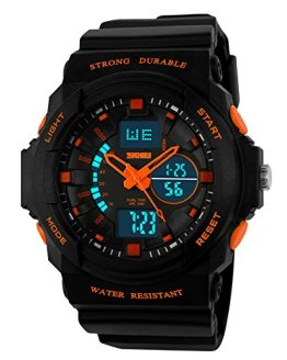 Aposon Mens Dual Time Outdoor Digital Analog Quartz Waterproof Wrist Sport