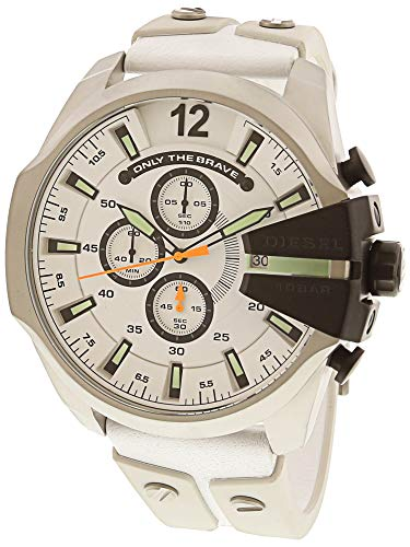 Diesel Men's Mega Chief White Leather and Silicone Watch