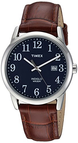 Timex Men's Easy Reader Brown/Silver-Tone/Blue Croco Pattern Leather Strap Watch