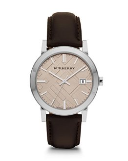 Burberry Fawn Dial Brown Leather Mens Watch