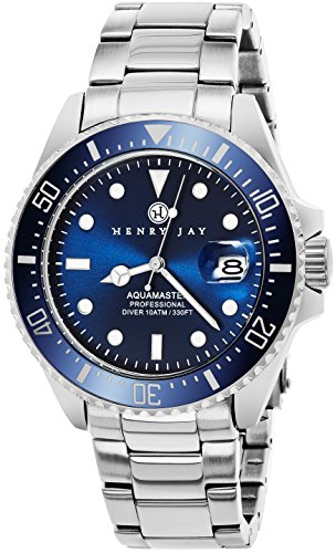 Henry Jay Mens Stainless Steel Professional Dive Watch with Date
