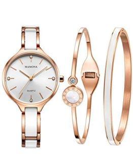 Ladies Quartz Watch Women bracelet set-MAMONA Rose Gold White