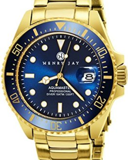 """Henry Jay Mens 23K Gold Plated Stainless Steel """"Specialty Aquamaster"""""""