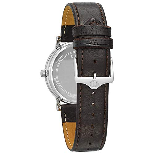 Bulova Unisex Stainless Steel Watch with Brown Leather Band Stainless steel watch highlighting sunray dial with date window at 6 o'clock and sewed cowhide band