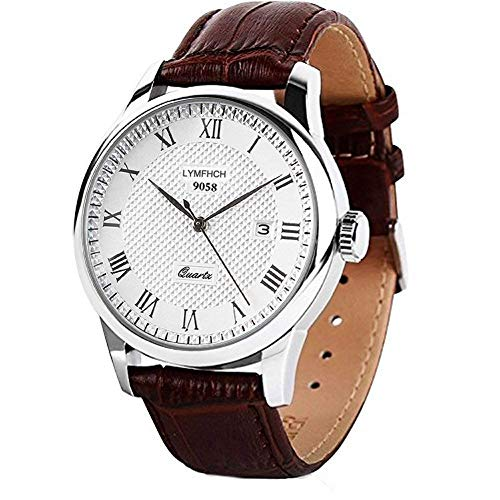 Mens Quartz Watch, Roman Numeral Business Casual Fashion Analog Wrist watch Classic Calendar Date Window, Waterproof 30M Water Resistant Comfortable PU Leather Watches -Brown