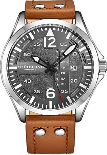 Stuhrling Original Mens Leather Watch - Black Aviation Watch Dial
