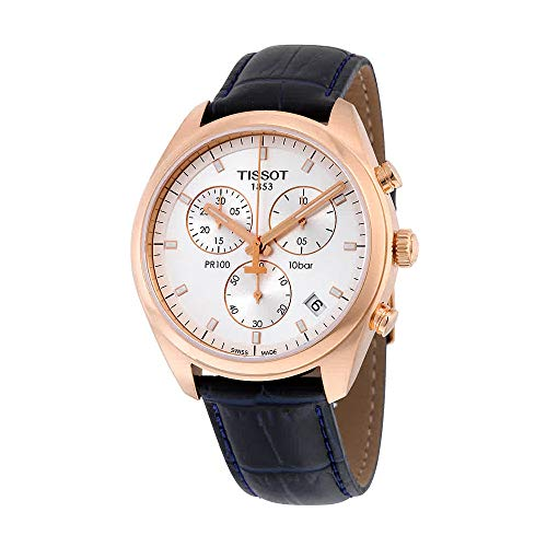 Tissot Men's Stainless Steel Watch With Black Faux-Leather Band