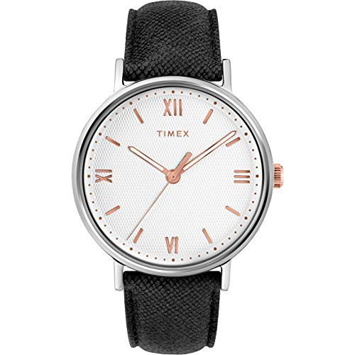 Timex Men's Southview 41 Black/White/Rose Gold Leather Strap Watch