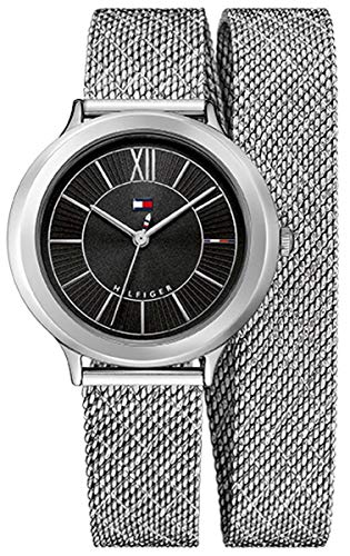 Tommy Hilfiger Women's Silver-Tone Silicone Band Steel Case Watch