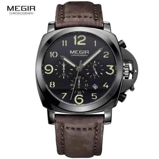 Megir fashion casual top brand quartz watches men leather sports watch