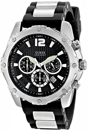 GUESS Men's Sporty Silicone & Metal Silver-Tone Chronograph Watch