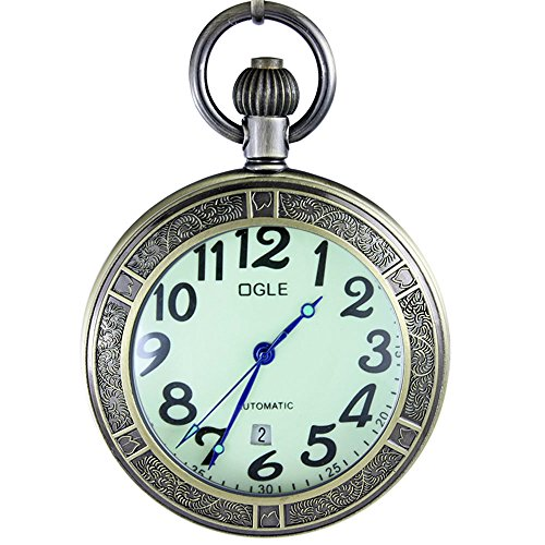 OGLE Waterproof Bronze Magnifier Calendar Date Day Pocket Watch