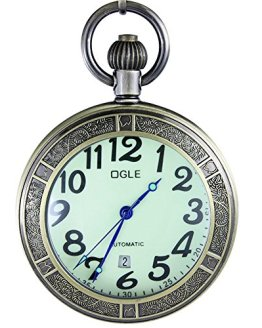 OGLE Waterproof Bronze Magnifier Calendar Date Day Pocket Watch