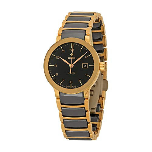 Rado Centrix Automatic Rose Gold-tone and Black Ceramic Ladies Watch