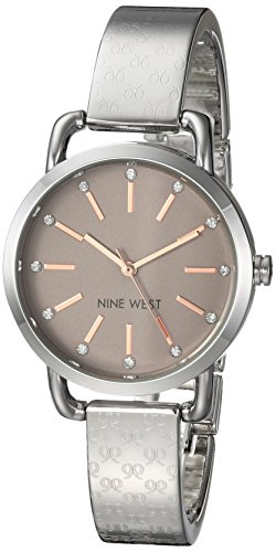 Nine West Women's Crystal Accented Silver-Tone Bangle Watch