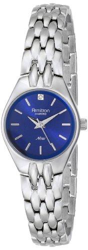 Armitron Women's Diamond Accented Blue Dial Silver-Tone Bracelet Watch