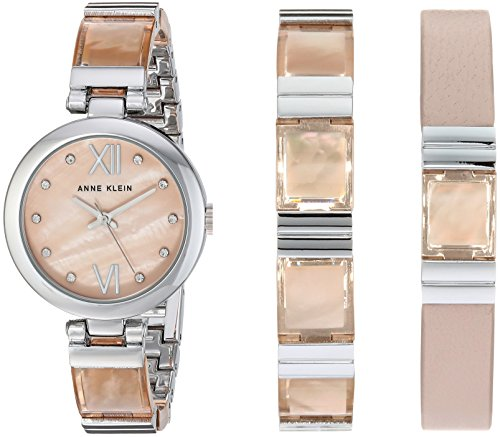 Anne Klein Women's Silver-Tone and Blush Pink Translucent Watch