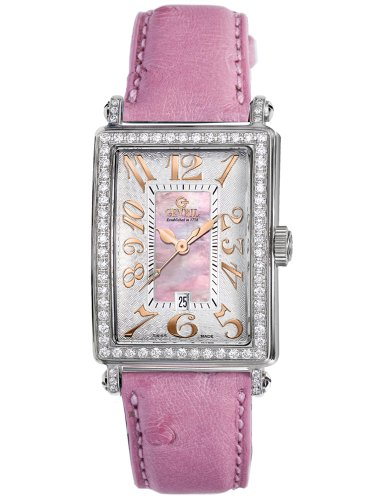 Gevril Women's Pink Mother-of-Pearl Genuine Ostrich Strap Watch
