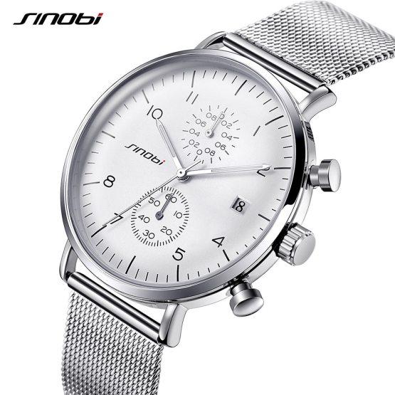 SINOBI Watches Men Luxury Brand Stainless Steel Waterproof Watch Men