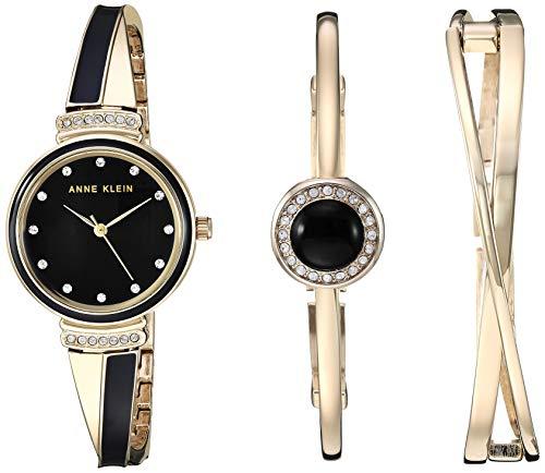 Anne Klein Women's Swarovski Crystal Accented Gold-Tone and Black Watch