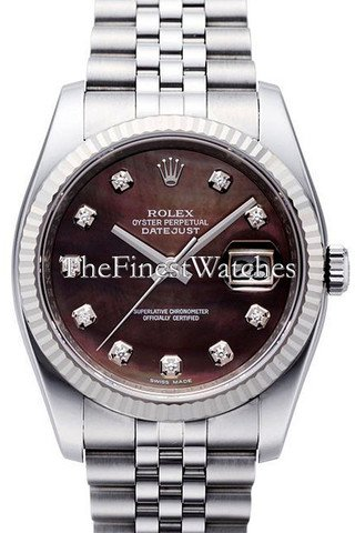 Rolex Datejust Black Diamond Dial White Gold Stainless Steel Men's Watch