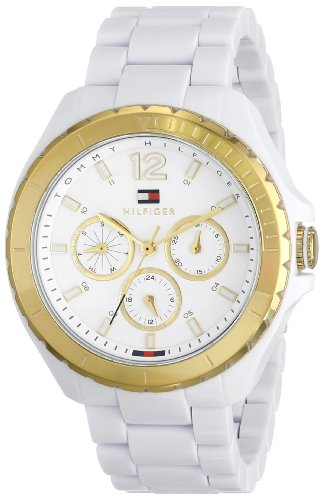 Tommy Hilfiger Women's Gold-Tone Watch with White Resin Band