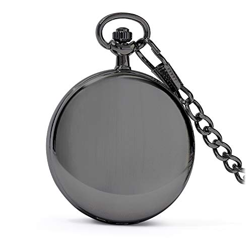 """Speidel Classic Brushed Satin Black Engravable Pocket Watch  Precision simple quartz development including a seconds hand, day and date sub-dials situated at 9 and 3 o'clock    Engravable great brushed silk complete case connected to a removable 14"""" precious stone cut check anchor with a simple to catch spring ring that offers a protected hold Push catch crown strategically placed at 3 o'clock making it a lot less demanding to open, read and modify the time in the palm of your hand Perfect occasion, birthday or some other unique event present thought bundled in a lovely smooth dark box 100% SATISFACTION GAURANTEE: We are certain that you are going to adore your new Speidel stash watch, however on the off chance that for reasons unknown you are not fulfilled inside 30 days of procurement, we will send you your decision of a 100% discount or substitution. Moreover, you will likewise get our multi year producer's guarantee. If it's not too much trouble don't hesitate to get in touch with us with any issues that you may have and we will make it right.   Classic brushed silk dark pocket watch with a pinch of present day flare. Highlighting a metallic silver dial, simple 3-hand quartz development, day and date sub-dials, polished dark hands, files and numerals, 14"""" precious stone slice check tie with simple to catch spring ring and engravable front and back external case. A Speidel take watch is an extraordinary occasion, birthday or some other uncommon event present thought bundled in a delightful box that would make an incredible expansion to anybody's timepiece collection. Speidel Classic Brushed Satin Black Engravable Pocket Watch with 14"""" Chain, Silver Dial, Seconds Hand, Day and Date Sub-Dials"""
