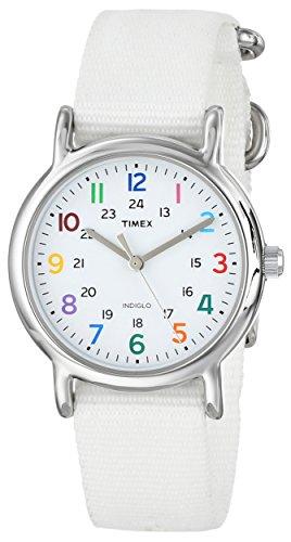 Timex Women's Weekender White Nylon Slip-Thru Strap Watch