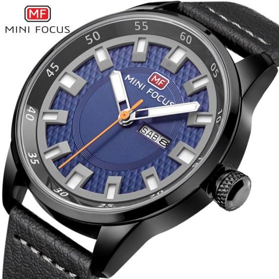 MINI FOCUS Simple Brand New Leather Quartz Watch Men Wrist Watches