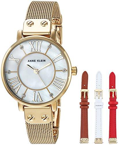Anne Klein Women's Gold-Tone Mesh Bracelet Watch