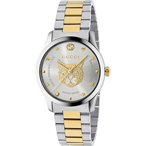 3185d9fbaa7 Gucci G-Timeless Watch 38mm Two Tone Yellow Gold Feline - Luxury and ...